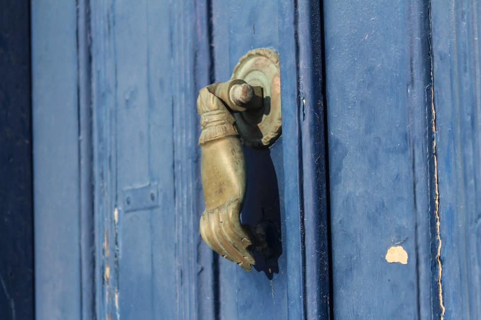 A blue door in Greece
