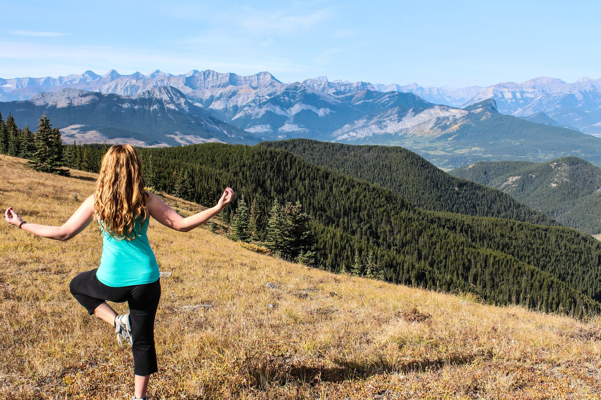 Heli yoga in the mountains
