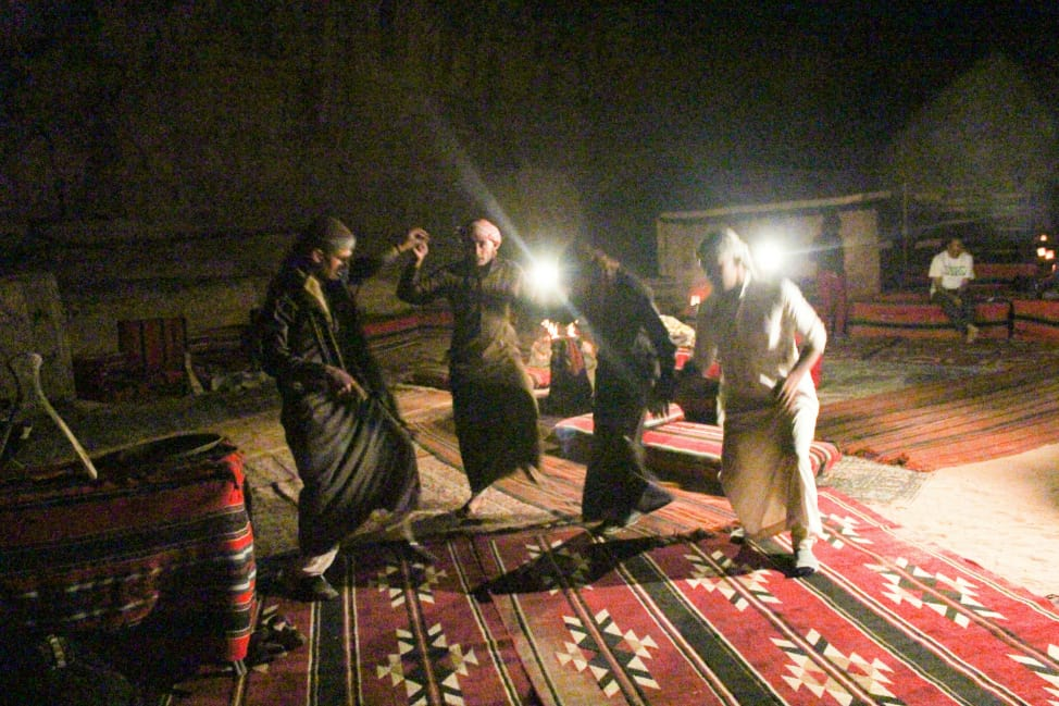 Dancing around the campfire in Wadi Rum