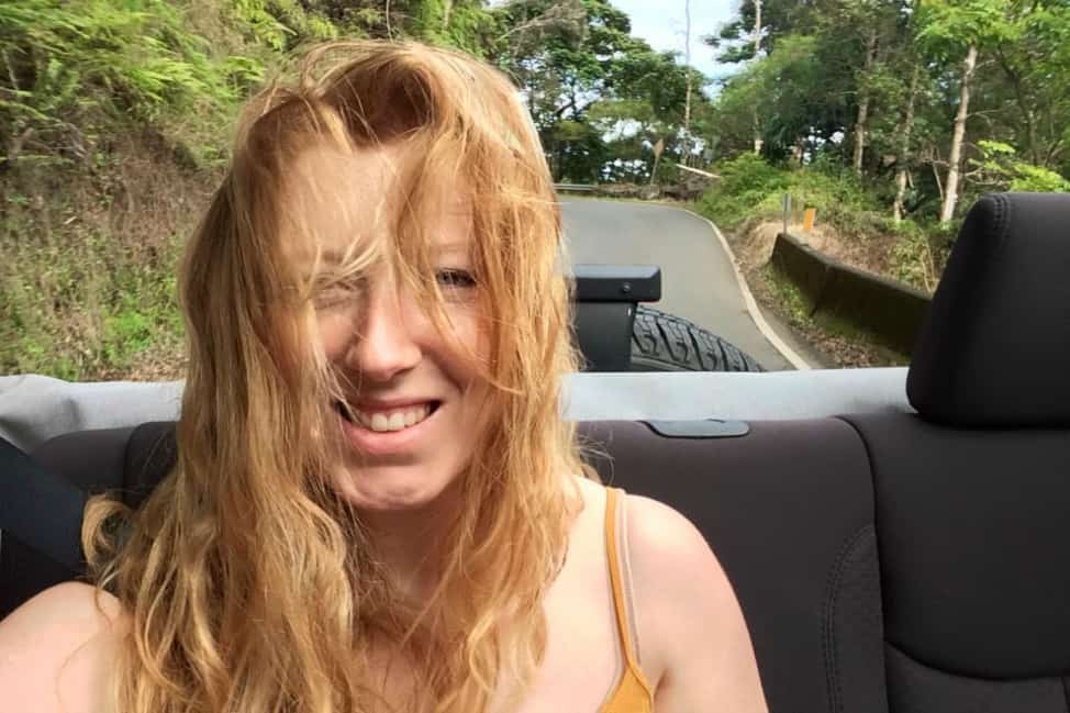 Wind-swept hair on the road to Hana