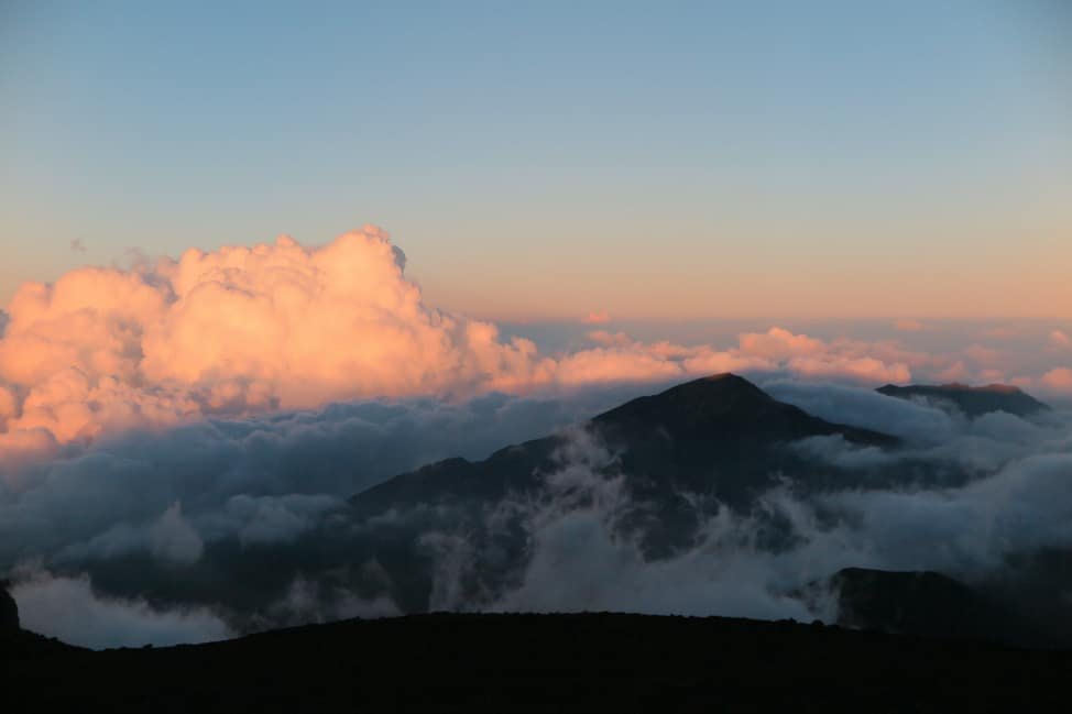 in the clouds of Haleakala Volcano