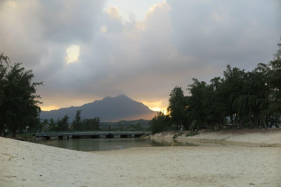 a sunset in oahu