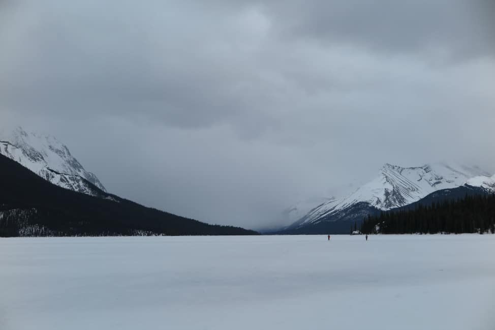 snowshoeing on maligne lake