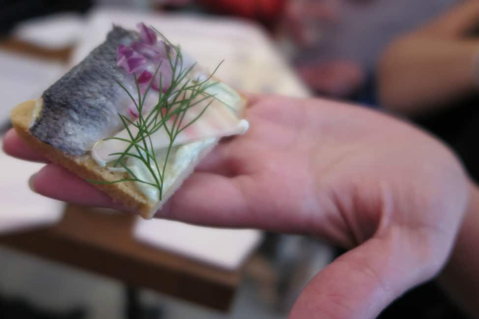 pickled herring open faced sandwich