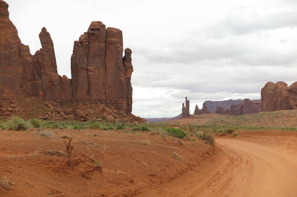 Rock formations in Monument Valley.