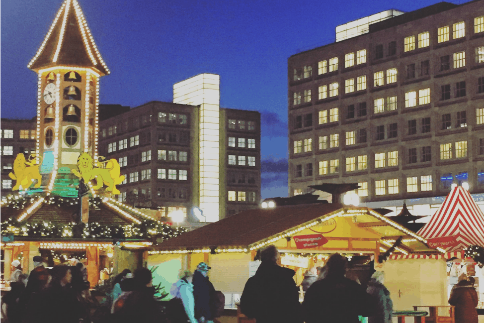 The Christmas market at Alexanderplatz, Berlin.