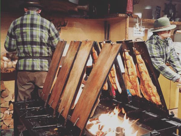 Salmon roasting at a Christmas market
