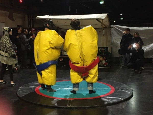 Sumo wrestlers at the Japanese Christmas market