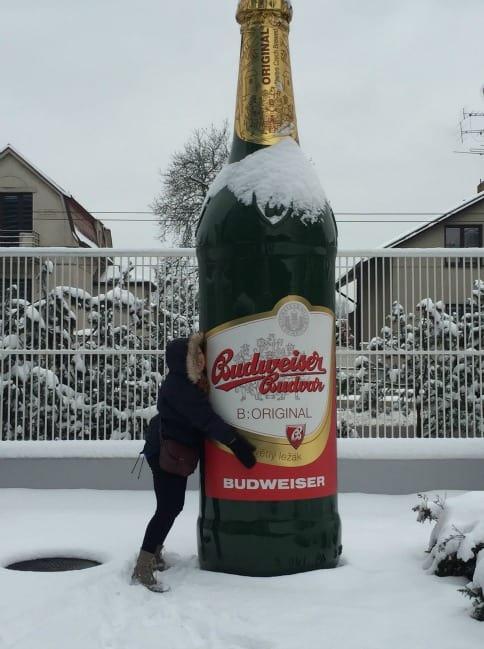 Me hugging a Budweiser