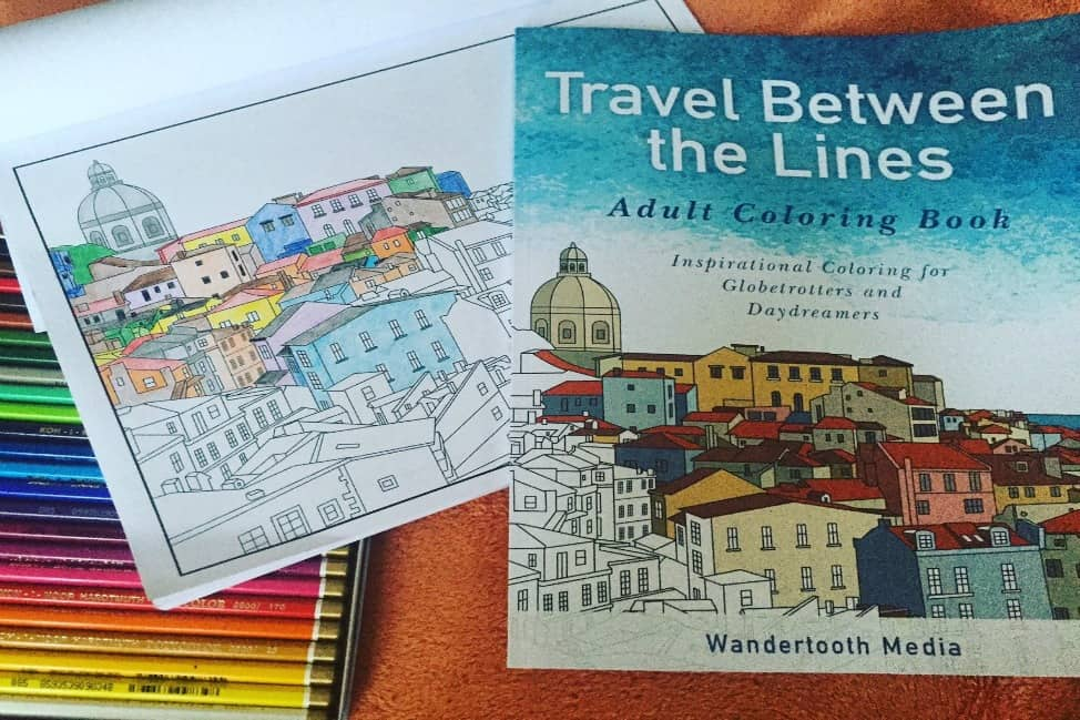 adult travel colouring books