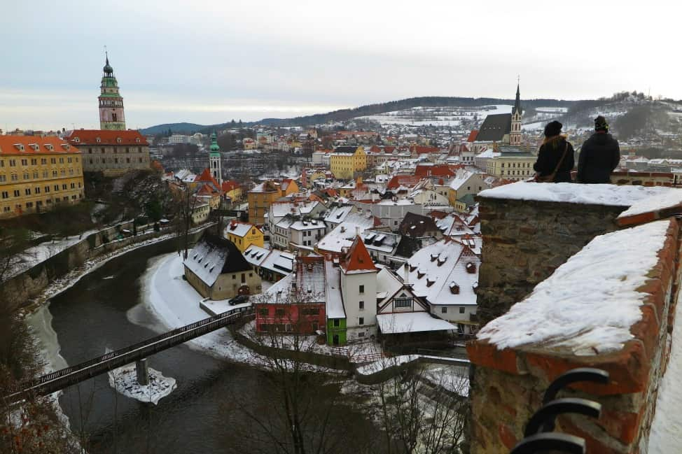 Tourists looking over Cesky Krumlov