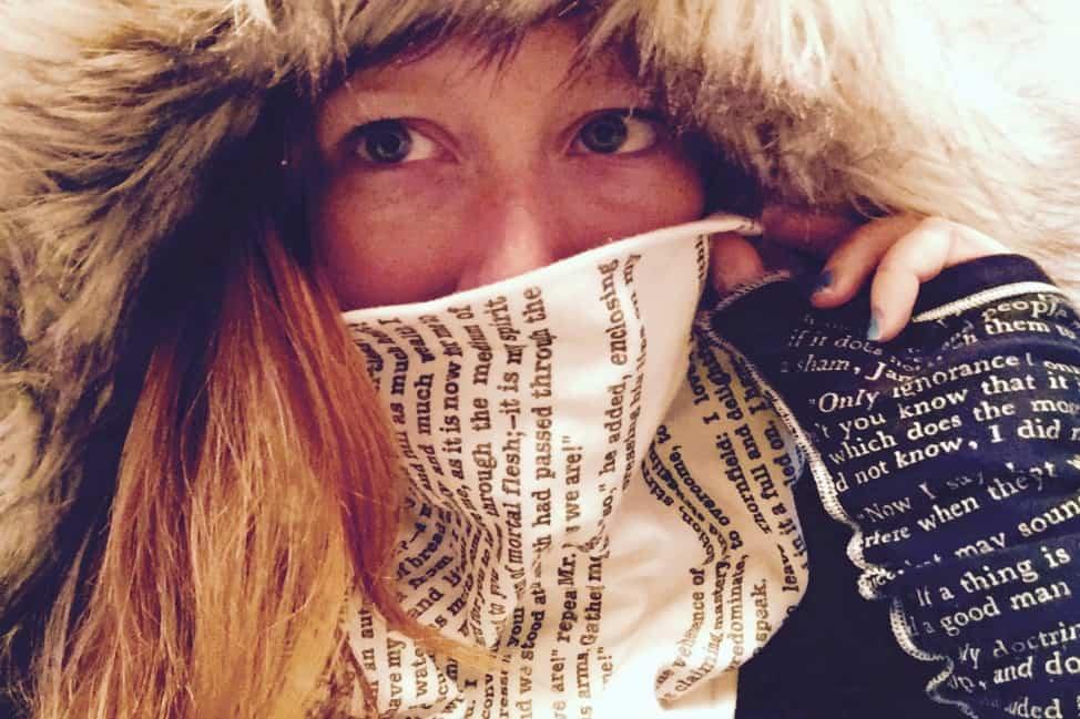 me wearing my literary scarf
