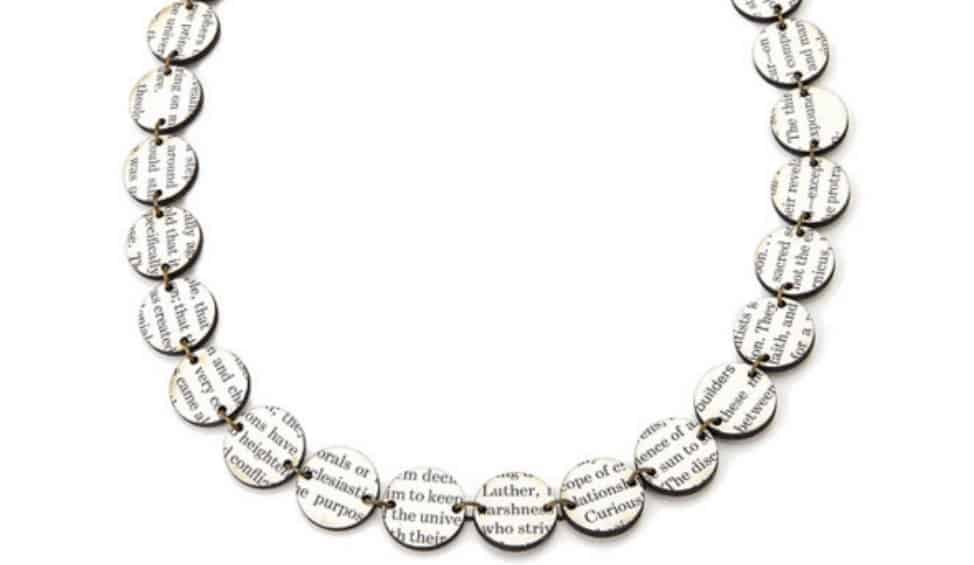 recycled books necklace