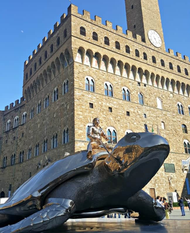 Man riding a turtle in Florence