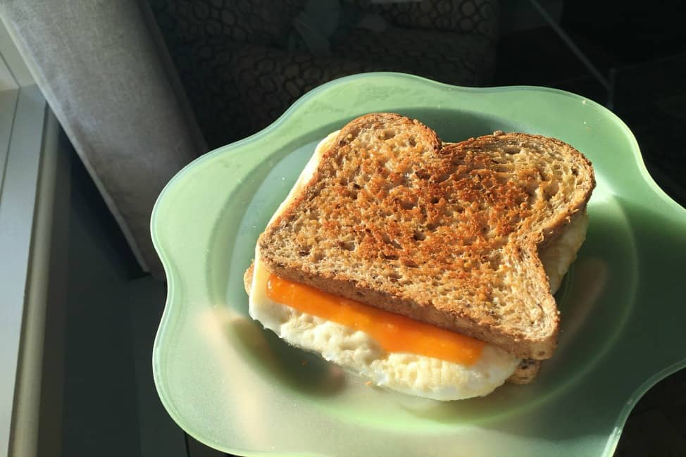 Egg-and-cheese breakfast sandwich, a la clothes iron.
