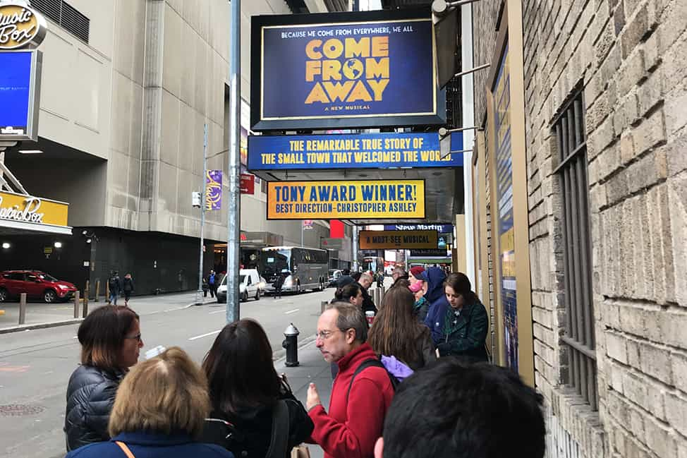 The line-up outside Come From Away