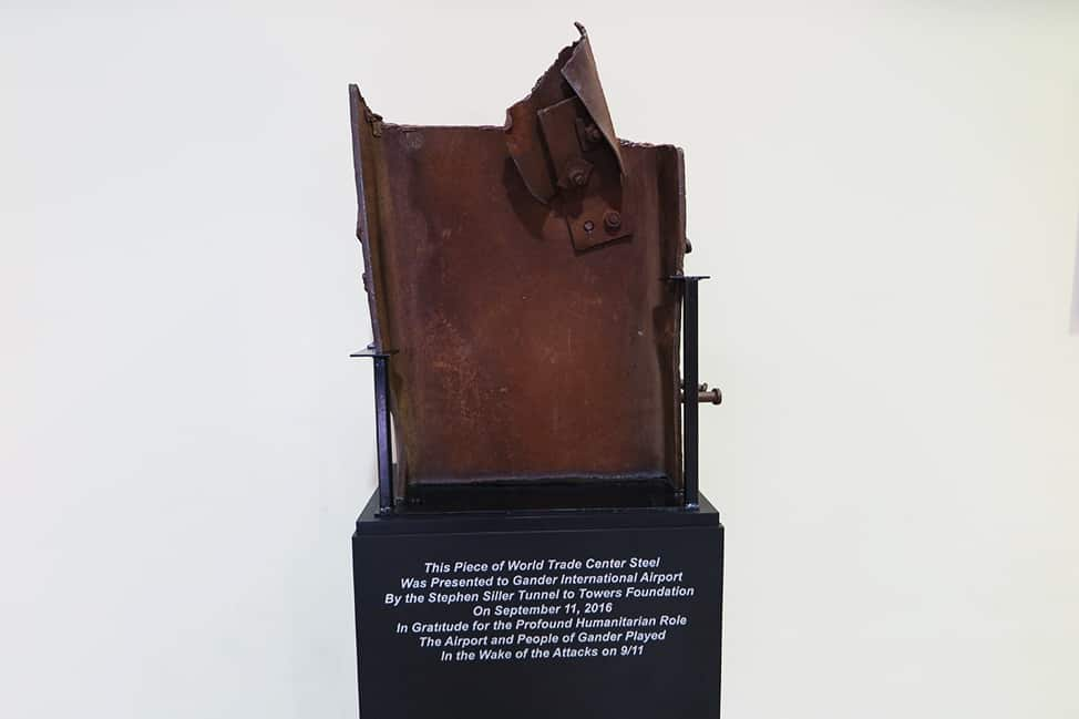 Piece of the World Trade Center at the Gander Airport
