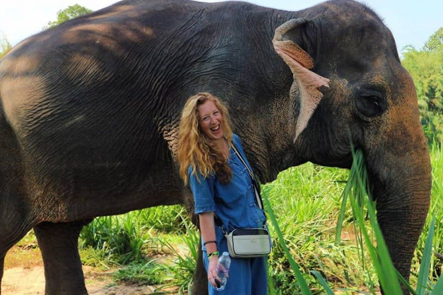 Candice Walsh at an elephant sanctuary