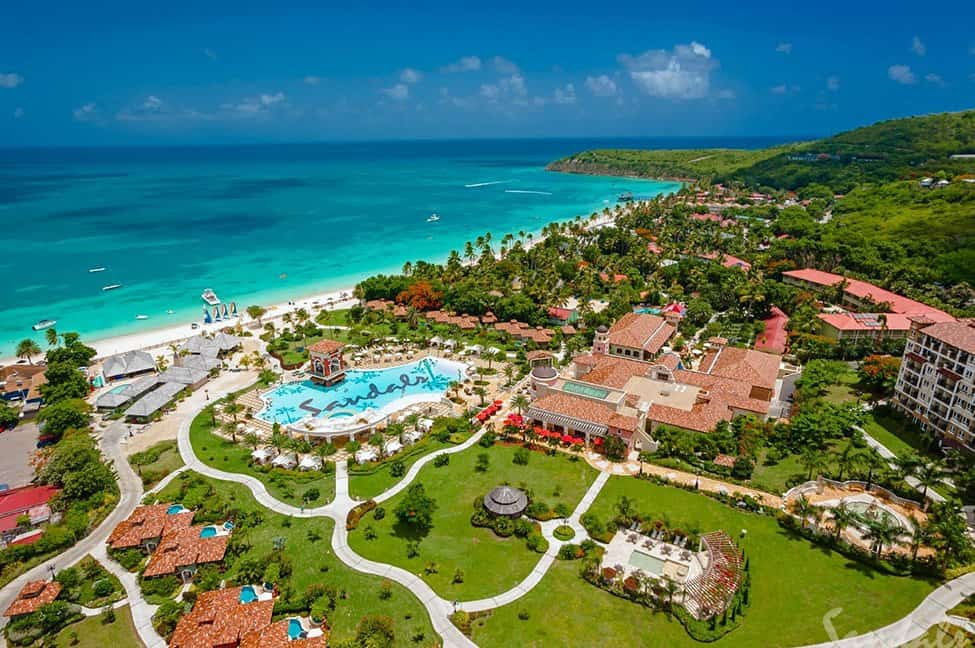 Aerial view of a Sandals Resort